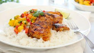 BBQ Lime Chicken with Mango Salsa & Coconut Rice | 20 Minute Dinner Ideas