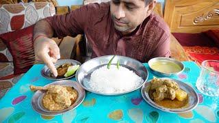 eating show with sound || Eating hilsha fish fry,chicken roast,mutton curry and dal