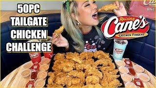 50pc CHICKEN FINGERS from Raising Canes Challenge!!! Entire Tailgate Party Pack! #RainaisCrazy