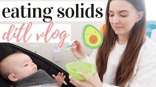 BABY'S FIRST TIME EATING SOLIDS AT 4 MONTHS OLD | DAY IN THE LIFE WITH A NEWBORN AND A TODDLER 2020