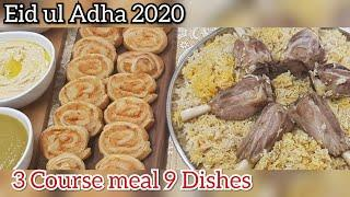 Eid ul Adha 2020 lunch dinner menu, 3 course meal 9 dishes