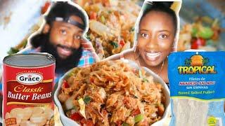 $5 OR LESS MUKBANG MEAL FOR A FAMILY OF 4 | JAMAICAN STYLE | SALT FISH + BUTTER BEAN | EATING SHOW