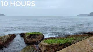 Ocean Waves, Light Rain & Distant Rolling Thunder | Seaside Nature Sounds for Relaxing & Sleeping