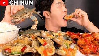 SOY SAUCE MARINATED RAW CRAB + SPICY BABY OCTOPUS + RICE MUKBANG | SEAFOOD EATING SHOW