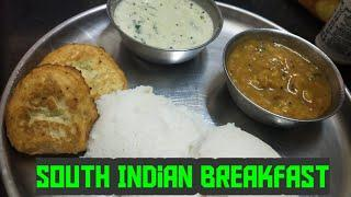 South Indian breakfast/recipe in english/how to make soft idlies/breakfast recipes/vada with sambar