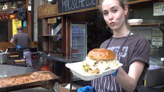 Mac&Cheese, Pulled Meat and Melted Cheese Sandwich. BIG and Juicy. London Street Food
