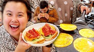 BREAKFAST MUKBANG 먹방 HOW TO COOK THE BEST EGG BACON SANDWICH + AVOCADO TOAST RECIPE EATING SHOW!