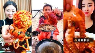 SPICY FOOD CHALLENGE Octopus 1.7kg, Starfish, Giant Lobster Satisfying Eating Sounds