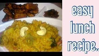 EASY LUNCH RECIPE IN TAMIL|saambar satham,vaalaikkai varuval|simple lunch recipe