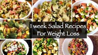 1 Week Salad Recipe | 7 Healthy Quick and Easy Indian Lunch or Dinner Recipes For Weight Loss