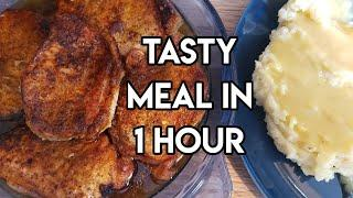 Home cooked meal in 1 hour | Instant Pot and Instant Omni Oven Pork Chops & Mashed Potatoes n Gravy