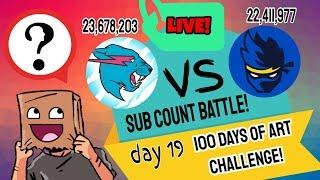 DAY 19| 100 DAYS OF ART CHALLENGE | FAN ART BATTLE NINJA VS MR BEAST!