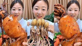 Eating Show - Eats Spicy Sea Snail and Spicy Octopus Chinese Sauce