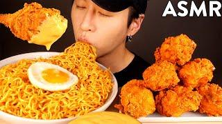 ASMR MUKBANG SPICY INDOMIE MI GORENG & CHEESY SPICY FRIED CHICKEN (No Talking) EATING SOUNDS