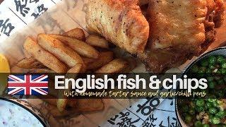 Homemade English Fish and Chips. (Tartar sauce & peas).  영어/영국 피쉬 앤 칩스.