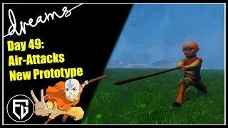 Creating an AVATAR Game! | Prototype of new Air Attacks | [Day 49] [Dreams PS4]