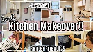 SMALL KITCHEN MAKEOVER 2020 :: RENTER FRIENDLY ROOM TRANSFORMATION :: APARTMENT KITCHEN MAKEOVER