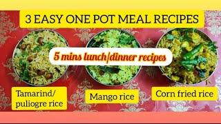 3 Easy one pot indian meal recipes | Quick indian lunch/dinner recipes | vegetarian dinner recipes