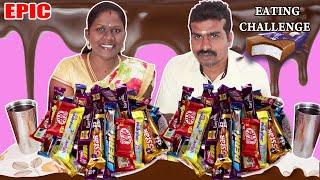 EPIC CHOCOLATE EATING CHALLENGE IN FOODIES FOOD DIVYA vs RAJKUMAR || Chocolate Eating Competition
