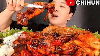 SQUID, GIANT SHRIMP, OCTOPUS PORK BELLY, RICE BALLS | SPICY SEAFOOD BOIL & MEAT EATING SHOW