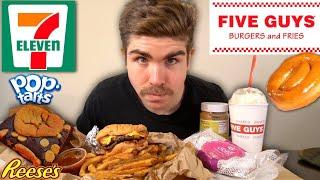 FIVE GUYS & 7 ELEVEN DESSERTS EATING SHOW︱ALL THE WAY! with PEANUT BUTTER