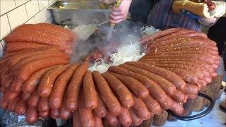 HUGE HOT DOGS, LONDON STREET FOOD, HUGE SAUSAGES IN CAMDEN MARKET LONDON