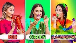 EATING ONE COLOR OF FOOD FOR A WHOLE DAY || Epic Tik Tok Challenges With Food!