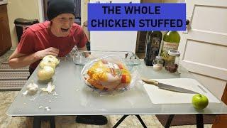 Simple easy cooking 4 whole chicken stuffed with onion garlic ghost pepper EAT LIKE A KING