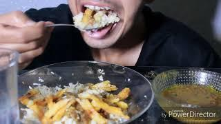 Eating Rice+Lentils With French Fries, Pakistani Foods (No Talking) Eating Sounds|LuxuriousMAC ASMR|