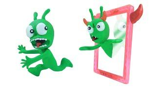 PEA PEA Having Trouble With Demon Mirror - Stop Motion Play Doh Cartoons
