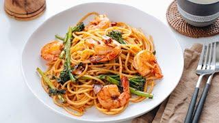 How to Make Japanese Pasta with Shrimp and Broccolini (Recipe) 海老とブロッコリーニの和風パスタの作り方 (レシピ)