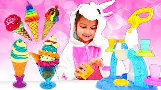 Play Doh Ice Cream for Unicorns! Funny Videos for Kids with Play Doh Food