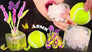 ASMR EDIBLE Diffuser Butterfly Tennis Ball WAX JELLY Swirl Candy EATING SOUND 디퓨저 나비 테니스공 소용돌이팝캔디 먹방