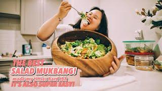 THE BEST CHICKEN CEASAR SALAD YOU WILL EVER EAT (EASY) | MUKBANG 먹방 EATING SHOW! (COOKING + EATING)