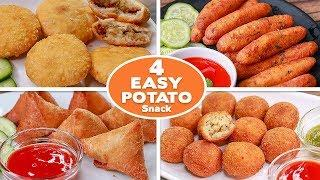 4 Easy Potato Snacks Recipes | Potato Bread Samosa | kachori | Potato Bites | Potato Finger |Toasted