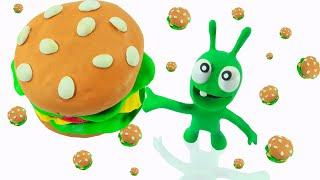How PEA PEA Get The Giant Hamburger - Stop Motion Play Doh Cartoons
