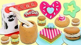 Play Doh Cookies n' Milk Playset | Kitchen Creations Play Dough Desserts & Treats!