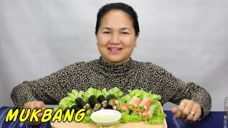 MUKBANG • Mini Salad Rolls • Eating Sounds • Light Whispers • Nana Eats