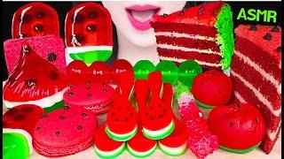 ASMR WATERMELON DESSERTS *EDIBLE SPOON, WATERMELON CAKE, ROCK CANDY, JELLY 수박 디저트 먹방 EATING SOUNDS