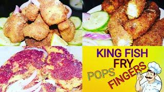 KING FISH FRY,POPS,FINGERS|FISH PARTY SNACKS RECIPE|BANJARAM QUICK AND EASY RECIPE|YUMMY FISH RECIPE