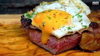 A simple Egg Bacon Steak - Step by Step