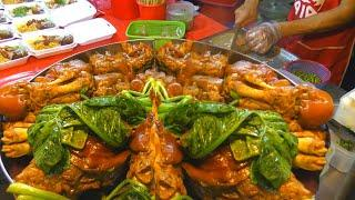 Street Food and Wet Market in Phuket, Thailand. Best Stalls of Banzaan Market in Patong City