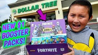 HUNTING FOR CHEAP NEW FORTNITE BATTLE ROYALE TRADING CARDS! BOOSTER PACKS HAUL AT DOLLAR TREE!