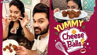 Yummy Cheese Balls Recipe | Cook #WithMe - Sreemukhi | Cheesy Snacks | #StayHome & #StaySafe