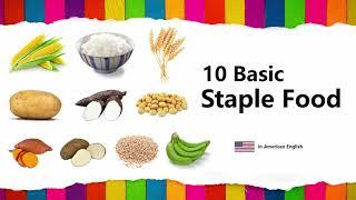 Learn Staple Food in English (10 Basic Names with Spelling)