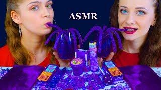 ASMR PURPLE FOOD JELLY SHEET, ROCK GALAXY CANDY, GUMMY TWIZZLERS, JELLY SPOON EATING MUKBANG