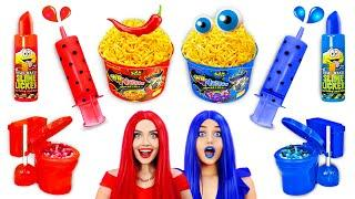 RED SPICY VS BLUE SWEET Food Challenge | Eating Sweet and Fire Noodles! Mukbang by RATATA