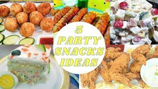 5 Party Snacks Ideas | Mac N Cheese Balls | Russian Salad | Sandwich Cake | Beef Seekh Kabab | Wings