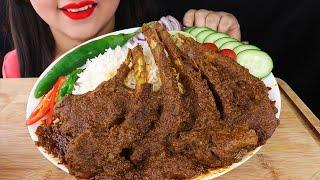 Eating SPICY MUTTON CURRY with RICE|Eating Indian Food (Real Sounds Eating Show)