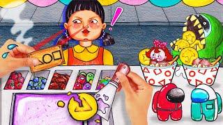 SQUID GAME With Crazy Ice Cream Food Challenge ASMR | Stop Motion Paper Animation